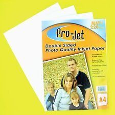 100 Sheets of Double Sided Instant Dry MATT A4 White Photo Paper 220gsm Pro-Jet