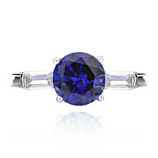 Sterling Silver 2ct Created Blue Sapphire and Cubic Zirconia 3-Stone Ring (China
