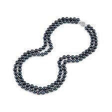 Radiance Pearl 14k Gold AAA Quality Black Akoya Pearl Double Strand Necklace (7.