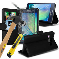 Stylish PU Leather Flip Wallet Case Cover Pouch & Glass For Samsung Galaxy A3