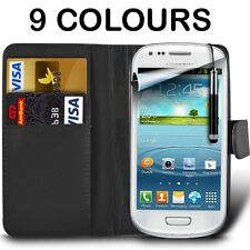 Leather Wallet Case, Film & Stylus Pen For Samsung I8190 Galaxy S3 Mini