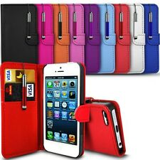 LEATHER WALLET CASE COVER,SCREEN GUARD & MINI STYLUS PEN FOR APPLE IPHONE 5