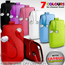 LEATHER PULL TAB POUCH SKIN CASE COVER+EARBUD EARPHONE FOR VARIOUS ALCATEL PHONE