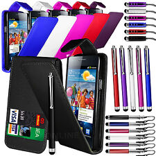 PU LEATHER FLIP CASE COVER, FILM & 3 STYLUS PEN SET FOR SAMSUNG I9100 GALAXY S2