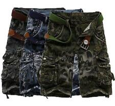 Mens outdoor casual shorts overalls cargo pants camo multi pockets trousers