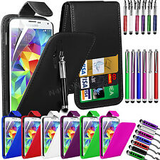 PU Leather Flip Case Cover, LCD Film & 3 Stylus Pens for Samsung Galaxy S5 i9600