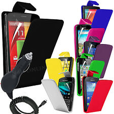 Premium PU Leather Flip Case Cover, Film & In Car Charger For Various Handsets