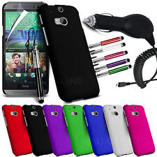 HARD BACK SKIN CASE COVER, LCD FILM, PEN & CAR CHARGER FOR HTC ONE M8