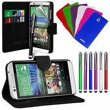 PU Leather Flip Wallet Book Case Cover, LCD Film & Stylus Pen For HTC Desire 510