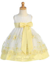 New Baby Kids Flower Girl Yellow Organza Dress Easter Wedding Birthday M558