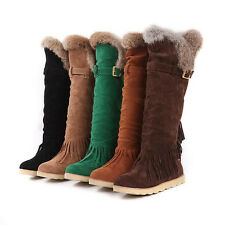 Fashion Womens Knee High Boots Fringes Tassels Low Heel Shoes US All Size OB624