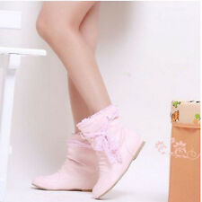 Fashion Style Womens Lace Bowknot Ankle Boots Flat Heel Shoes US All Size OB611