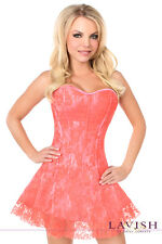 Sexy Coral Lady Lacing Corset Dress Overlay Boned Top Size Corset Dress S-6X