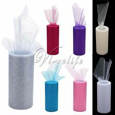 """Multi Color 6""""x25yd Glitter Tulle Roll Tutu Wedding Party Fabric Bow Carft Spool"""