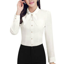 Women Pussybow Neck Single Breasted Slim Fit Shirt