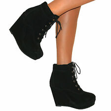 WOMENS BLACK WEDGE HIGH HEEL PLATFORM SUEDE LACE UP SHOES ANKLE BOOTS SIZE