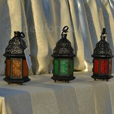 Glass Metal Moroccan Delight Garden Candle Holder Table/hanging Lantern Decor
