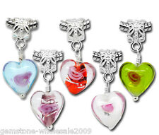 Wholesale Lots Mixed Glass Heart Dangle Beads Fit European Bracelet