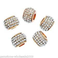 Wholesale Lots Gold Plated European Charms Beads With White Rhinestone 11x8mm