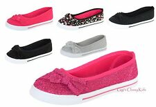 New Girls Canvas Glitter Shoes Flat Ballet Kids Slip On Sneakers Loafers Sparkle