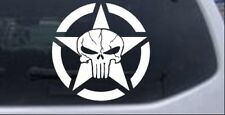 Military Jeep Star Cracked Punisher Skull Car or Truck Window Decal Sticker