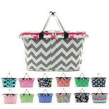 """15"""" Large Picnic Basket Collapsible Insulated Thermal Cooler Market Utility Tote"""