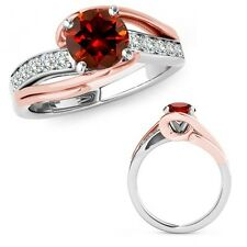 1 Ct Red Diamond By Pass Solitaire Halo Anniversary Fancy Ring 14K Two Tone Gold