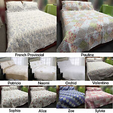 3 Pce Floral Cottage Quilted Coverlet / Bedspread with 2 Matching pillowcases