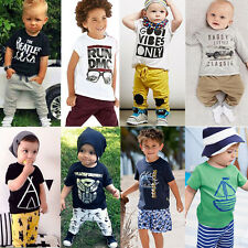 2PCS Cotton Baby Boys Toddler Kids T-shirt Tops+ Shorts Trousers Clothes Sets