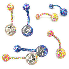 Crystal Body Piercing Jewelry Rhinestone Dangle Button Belly Navel Rings Bar T