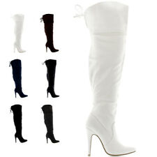 Ladies Over the Knee Zip Stretch Party Stiletto Thigh High Heels Boots All Sizes