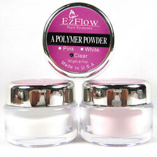 New ACRYLIC NAIL ART TIP CRYSTAL POLYMER POWDER Tool - CLEAR PINK WHITE CHOOSE