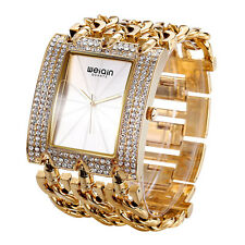 WEIQIN Luxury Crystal Gold Bracelet Watches Women Lady Fashion Dress Watch O7H6