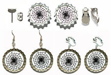 SPIDER WEB HALLOWEEN BOTTLE CAP PIERCED or CLIP ON EARRINGS - 4 CHOICES
