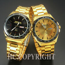 Unique 18K Gold Plated Stainless Steel Date & Day Analog Mens Quartz Wrist Watch