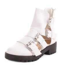 Womens White Cut Out Gladiator Sandal Flat Buckle Ankle Boots Ladies Size 3-8