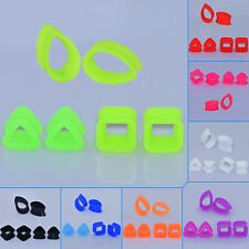 3 PAIRS Different Shape Silicone Ear Tunnels Plugs Gauge Hollow Earskin Earlets