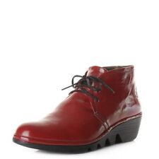 Womens Fly London Pert Red Low Wedge Heel Ankle Boots Shoes Sz Size