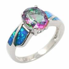 Stunning White Fire Opal Inlay CZ Genuine 925 Sterling Silver Band Ring NEW Z4M3