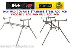 DAM MAD COMPACT STAINLESS STEEL ROD POD+CARRY CASE/BAG CARP FISHING 3 OR 4 ROD