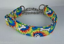 Half Check Martingale TIE DYE PAWS BONES Terri's Dog Collar hand made adjustable