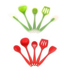 Kitchen Utensil Set Silicone Spatulas Spoon Slotted Turner Ladle Green/Red W7W9