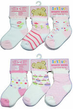 New 3 pairs Pink Flower or cupcake childrens socks -baby girl 0-12 months