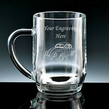 Personalised VW BEETLE Half Pint or Pint Glass Tankard ENGRAVED FREE New