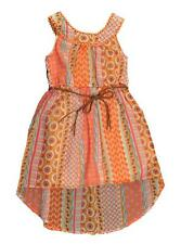 Pogo Club Girls Coral Printed Chiffon Dress with Belt Size 4 5/6 6X $34