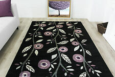 Contemporary Purple Poppy Floral Rugs Small Large Non Shed Modern Runner Rugs UK