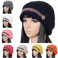 Women Girls Braided Winter Warm Baggy Beanie Knit Oversized Crochet Ski Hat Cap