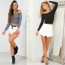 Womens Sexy Slim Off Shoulder Blouse Long Sleeve Stretch T-Shirt Tank Crop Tops
