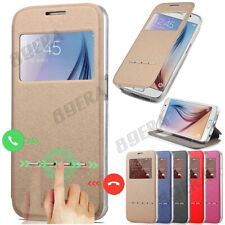 New Flip Folio View Window PU Leather Case Kickstand Cover For Samsung & iPhone