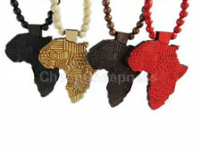 Chic Hip-Hop African Map Pendant Wood Bead Rosary Chain Necklace 91cm